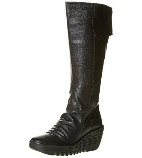 Fly London Yulo Black Womens Leather Knee High Wedge Boots