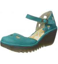 d4323a11d67d Fly London Yuna Green Womens Leather Wedge Sandals Shoes