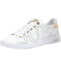 Guess Carterr 2 White Gold Womens Leather Trainers Shoes