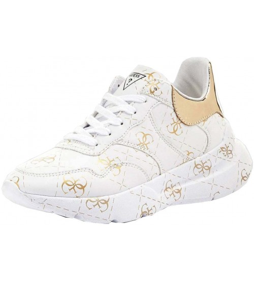 Guess Mayla White Gold Womens Leather Trainers Shoes
