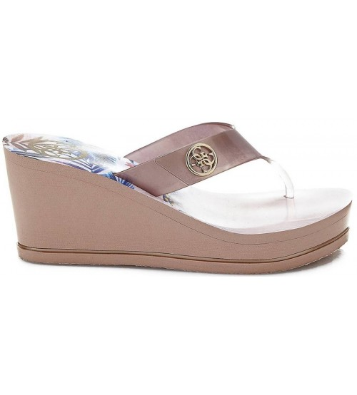 9794f7d58 Guess Shadia2 Nude Gold Womens Wedge Flip Flops