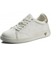 Guess Super White Gold Womens Eco Leather Trainers