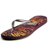 Havaianas Slim Animals Aubergine Women Beach Flip Flops