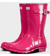 Hunter Orignal Short Bright Pink Gloss Womens Wellington Boots