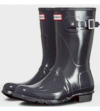 Hunter Orignal Short Dark Slate Gloss Womens Wellington Boots