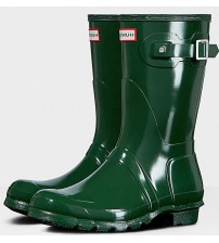 Hunter Orignal Short Green Gloss Womens Wellington Boots