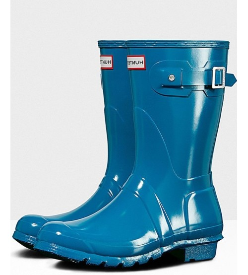 Hunter Orignal Short Ocean Blue Womens Wellington Boots