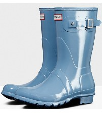 Hunter Orignal Short Pale Blue Gloss Womens Wellington Boots