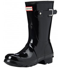 Hunter Orignal Short Black Gloss Womens Wellington Boots