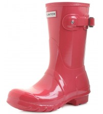 Hunter Orignal Short Coral Gloss Womens Wellington Boots