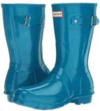 Hunter Orignal Short Ocean Blue Gloss Womens Wellington Boots