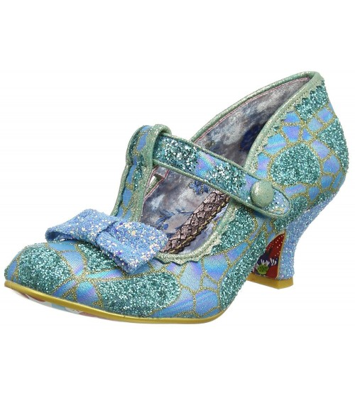 Irregular Choice Lazy River Blue Gold Womens Ankle Bar Heels