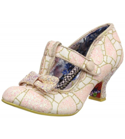 Irregular Choice Lazy River Pink White Womens Ankle Bar Heels