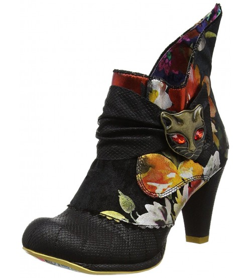 Irregular Choice Miaow Black Red Floral Womens Ankle Boots
