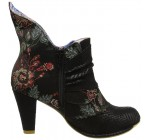 Irregular Choice Miaow Black Satin Womens Hi Ankle Boots