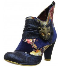 Irregular Choice Miaow Blue Floral Womens Ankle Boots