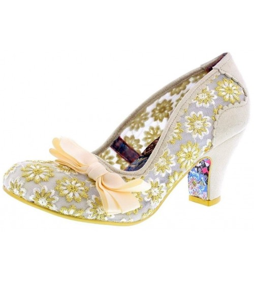 Irregular Choice Palm Cove Cream Lace Womens Heels Court Shoes