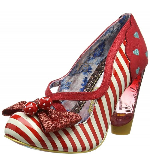 Irregular Choice Wanderlust Red White Womens Hi Heels Shoes