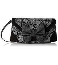 Irregular Choice Mal E Bow Too Black Glitter Womens Clutch Bag