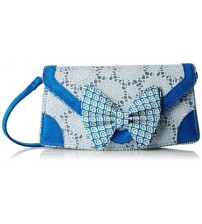 Irregular Choice Mal E Bow Too Blue Silver Womens Clutch Bag