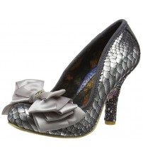 Irregular Choice Ascot Grey Gold Womens Heels Court Shoes
