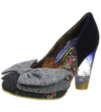 Irregular Choice Bowtina Navy Multi Womens Hi Heels Court Shoes