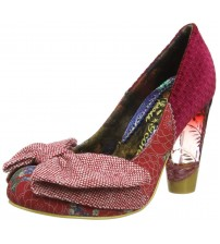 Irregular Choice Bowtina Red Multi Womens Hi Heels Court Shoes
