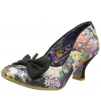 Irregular Choice Dazzle Razzle Black Floral Womens Court Shoes