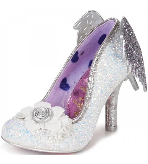Irregular Choice Icarus White Glitter Womens Hi Heels Shoes