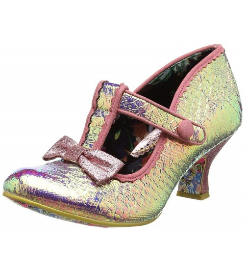 Irregular Choice Lazy River Pink Metallic Womens Ankle Bar Heels