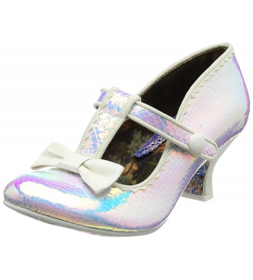 Irregular Choice Lazy River White Womens T Bar Heels
