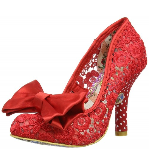 Irregular Choice Mal E Bow Red Womens Hi Heels Court Shoes
