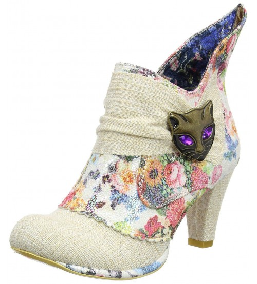 Irregular Choice Miaow Cream Multi Womens Ankle Boots Shoes