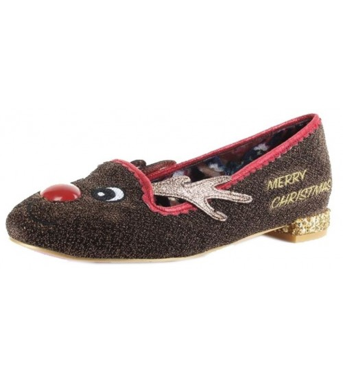 Irregular Choice Red Nose Roo Brown Womens Flats Shoes