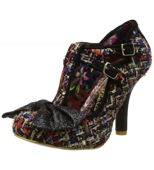 Irregular Choice Sundae Sprinkles Black Multi Womens T Bar Heels