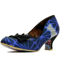 Irregular Choice Dazzle Razzle Blue Black Womens Heels Court Shoes