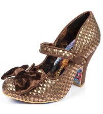 Irregular Choice Fancy This Bronze Womens Ankle Bar Hi Heels