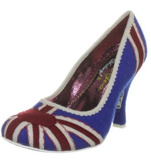 Irregular Choice Patty Navy Red Union Jack Hi Heel Court Shoes