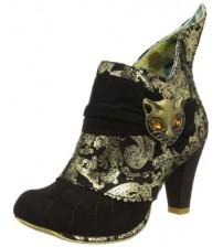 Irregular Choice Miaow Black Gold Womens Ankle Boots Shoes