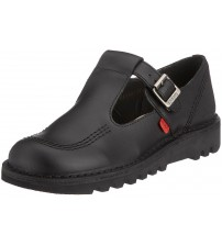 Kickers Kick Lo Aztec Black Leather Womens Mary Janes School Shoes