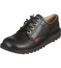 Kickers Kick Lo Core Black Leather Unisex Lace Up School Shoes