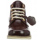 Kickers Kick Hi Core Burgundy Leather Womens Mid Boots