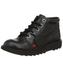 Kickers Kick Hi Core Black Leather Unisex Lace Up School Boots