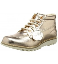 Kickers Kick Hi Rose Gold Leather Womens Mid Boots