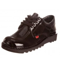 Kickers Kick Lo Core Black Patent Leather Womens Lace Up School Shoes