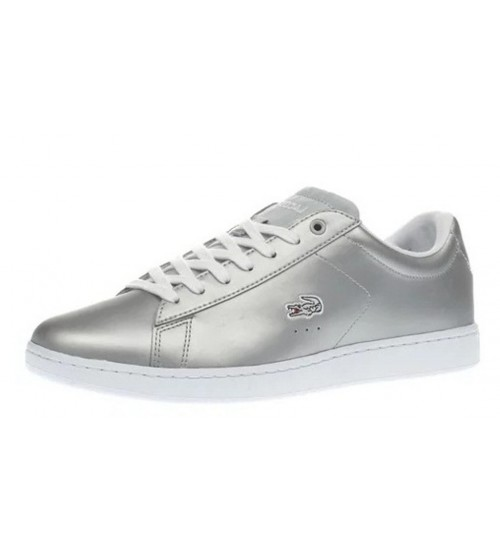 7275612e6 Lacoste Carnaby EVO Silver White Womens Leather Traines Shoes