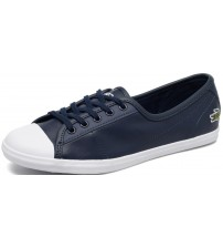 Lacoste Ziane Navy White Leather Womens Trainers Shoes