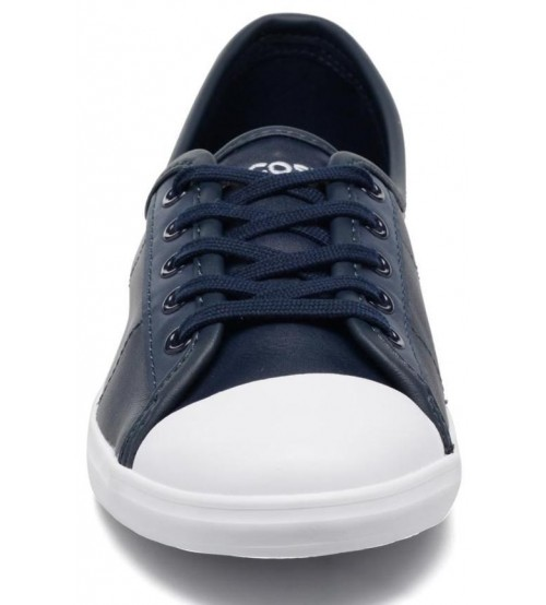 19b5517f4601 Lacoste Ziane Navy White Leather Womens Trainers Shoes
