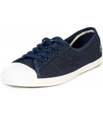 Lacoste Ziane Navy White Canvas Womens Trainers Shoes
