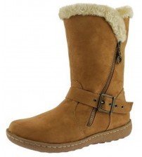 Pixie Poppy Camel Suede Womens Hi Winter Fur Boots